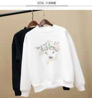Wholesale 2016 New Korean Autumn Winter Hoodies Loose students Fleece Fashion sweater Velvet sweater Long sleeved Embroidery pattern