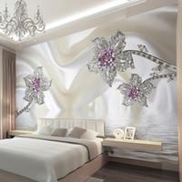 Wholesale Custom D Stereoscopic Jewelry Diamond White Lines Silk Art Wall Mural Wallpaper Living Room TV Backdrop Murales De Pared D