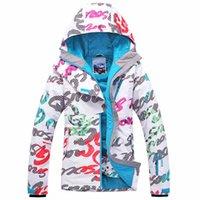 Wholesale 2017 gsou snow womens ski jacket ladies letter scrawl snowboarding jackets waterproof skiing jacket for women anorak skiwear