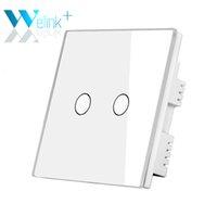Сенсорную панель Цены-Оптово-только Великобритании Стандартный сенсорный выключатель 2Gang Белый стеклянная панель LED настенные переключатели Сенсорный кнопки для дома Лампы