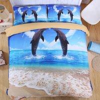 al por mayor delfín rey-3D Océano Ropa de cama única reina tamaño cama de la cama de la ropa de cama Cool Unique Dolphin Animal serie de otoño de invierno de espesor de algodón