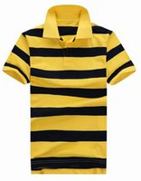Wholesale Summer Men Striped Polo Shirts Embroidery With Small Horse Classic Leisure T Shirt Ourtdoor Club Sports T Shirt Tees