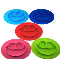 baby food trays - Baby Plate Silicone Bowl Tray Type Placemat Baby Feeding Food Utensils Anti down candy color children bowls fo kids