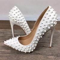 Wholesale Fashion Luxury Brand Red Bottom High Heels White Rivets Patent Leather High heeled Women Shallow Mouth High Heel Pumps cm size