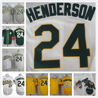 baseball shirts men - 2016 Majestic Rickey Henderson Jersey Oakland Athletics Throwback Baseball Jersey Stitched Baseball Shirt Gray Green White Yellow