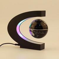 acrylic globe light - C shape LED World Map Floating Globe Magnetic Levitation Light Antigravity magic novel light Xmas Birthday Gift Home Decor E5M1
