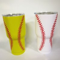 baseball lids - 30oz Baseball Wrapped Tumbler DOMIL Blanks Softball Stainless Steel Double Wall Vacuum Insulated Tumbler with Slid Lid DOM106
