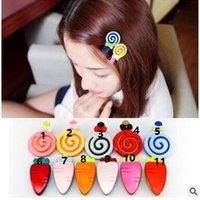 Wholesale Children s hair and lovely lollipop carrot duckbill clip Han edition children clip bang clip accessories color