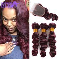 best red hair dye - Top A Brazilian Virgin Hair With Closure Brazilian Loose Wave With Closure J Red Bundles With Lace Closures Best Human Hair