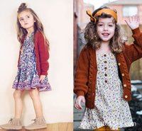 Wholesale 2016 Fashion Autumn Toddler Girl Knitted Sweater Solid Packet Long sleeve Cashere Cotton Cardigan Baby Coat