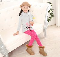 Wholesale Winter Kids Polka Dot Pants Girls Leggings With Warm Flannel Kids Long Trousers Baby Clothes Rose Red