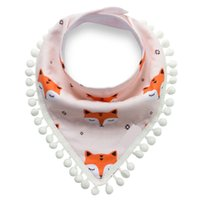 Any design you like ,pls note ball fringe - 2017 New factory directly sell INS Bandana bib with ball fringe Baby shower gift one one bag INS eyelash fox leaf pattern