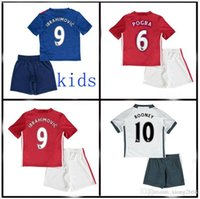 Wholesale TOP quality MancHESTERES kids IBRAHIMOVIC Pogba jerseys AWAY BLUE kids ROONEY MEMPHIS MARTIAL unITED ball SHIRT