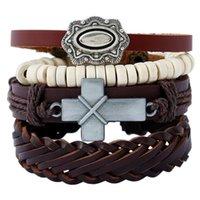 Hommes Retro Bracelets Suit 4 pcs / set Bracelet DIY Handmade tissé en cuir avec des accessoires en alliage de perles de bois de Croix Livraison gratuite