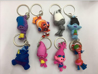 Wholesale New cute Trolls keychain Good Luck action figures PVC Collectable Model Toys for Kids Christmas Gift
