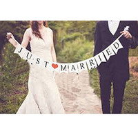 banner supply - Lincaier Just Married Vintage Paper Garland Wedding Banner Decoration Photo Booth Bunting PhotoBooth Party Events Supplies