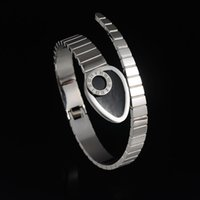 bangle high polish - High Quality Novelty L Stainless Steel Polished Bracelet Bangle Snake Roman Number Black Glaze Bracelet For Christmas Gift