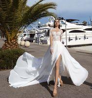 Compra Vestidos de las tapas atractivas-Los vestidos de boda envueltos largos de la raja atractiva 2017 diseñan el tren nupcial nupcial del chaple de la falda del satén de la tapa del cordón del neckline de la joya