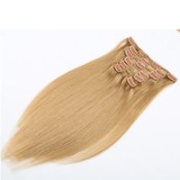 Wholesale 100 Brazilian Indian Malaysaian Mongolian Human Hair Straight Clip In Hair Extensions clips Full Head Set quot quot All Colors Cheaper
