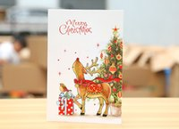 Wholesale 2016 Little bear love Christmas Multifunction WholesaleChristmas greeting card gold foil Hot stamping wishing with envelope DIY eight style