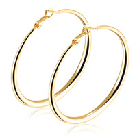 Wholesale 2017 New Arrival Top quality Titanium steel silver Kgold Big circle Hoop Earring for women N675