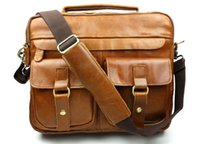 Wholesale Classic Retro Briefcases Crazy horse Leather Shoulder Bag Handbag Handmade Genuine Leather Fast Shipping