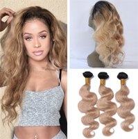 Wholesale Dark Roots B Ombre Brazilian Body Wave Human Hair Weaves With Lace Frontal Closure Honey Blonde Ombre Frontal With Bundles