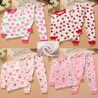 Wholesale 2016winter babay kids clothing piece pajamas sets Cotton Blends Long Sleeve Christmas grils cartoon clothing sets