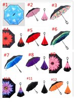 Wholesale Colorful Creative Inverted Umbrellas Double Layer With C Handle Inside Out Reverse Windproof Umbrella colors DHL in stock