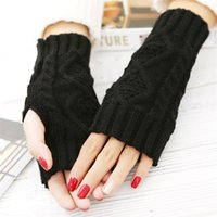 Wholesale colorful Unisex Men Women Arm Warmer Fingerless Knitted Long Gloves Cute Mittens
