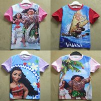 baby halloween shirts - New colors baby Moana T shirts cartoon Children Moana printing short sleeves tops Tees cotton kids shirts C1740