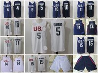 Wholesale Rio USA Dream Kevin Durant Carmelo Anthony Jimmy Butler Irving Klay Thompson Green jersey shorts mens