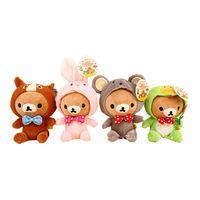 Wholesale New Rilakkuma Dolls Wearing Zodiac Mascot Costumes Lovely Plush Toy Stuffed Animal Dolls with Sucker