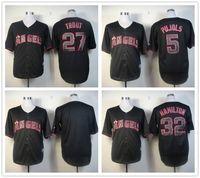 achat en gros de anges anaheim jersey noir-Hommes Los Angeles Angels of Anaheim Black Edition Jersey # 27 Mike Trout # 5 Albert Pujols # 32 Hamilton Livraison gratuite