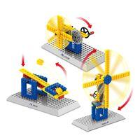 Venta al por mayor-modelo de kits de montaje de bricolaje bloques de engranaje palanca de juguete ingeniería mecánica de molino de viento modelo de iluminar regalo para los niños