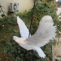 Wholesale ZILIN Wedding decoration dove plastic white dove with real feather flying vivid dove decor for decoration cm
