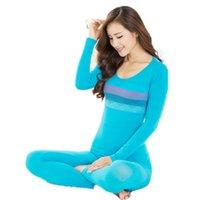 bamboo pajamas women - Women s Thermal Underwear Winter O neck Seamless Body Long Johns Women Second Thermal Female Skin Slimming Underwear Pajamas