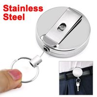 SKU F020 belt clip holder - New High quality Retractable Metal Card Badge Holder Steel Recoil Ring Belt Clip Pull Key Chain