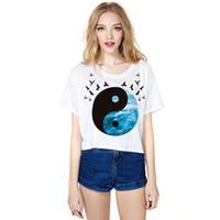 achat en gros de chi numérique-Vente en gros Drop Shipping dernier style estival impression numérique Tai Chi Gossip la vente chaude figure à manches courtes culotte top doux dames T-shirt