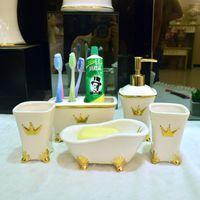 bathtub soap dishes - Fashion European Bathroom ceramic pieces set toilet supplies kit cup toothbrush holder lotion bottle bathtub soap dish closestool dish