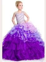 Wholesale Custom Made Hot Sale Flower Girls Pageant Dresses Brilliant Beaded Bodice Sequins Organza Ball Gown Children Dress