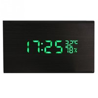 Wholesale Vintage Led Wood Alarm Clock Dual Led Display Bamboo Wooden Clock Show Temp Time Control Watch