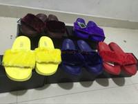 Wholesale RIHANNA LEADCAT FENTY Slippers Rihanna Leadcat Fenty Faux Fur Slide Sandal Fashions Women Fenty Slipper Black Slides Sandals Fenty Slide