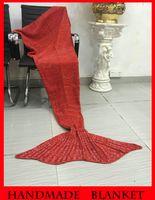 Wholesale In stock Adult Handmade Mermaid Tail Blanket Crochet Mermaid Tail Sleeping Bags Cocoon Mattress Knit Sofa Blankets