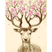 Wholesale Hand Painted Pictures On The Wall Coloring By Numbers Wall Pictures Art Decoration Deer cm