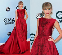 Wholesale Charming Red Taylor Swift Celebrity Dresses Red Carpet Formal Evening Gowns With Beaded Cap Sleeve Sweep Train Satin Fabric