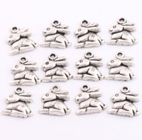 antique rabbits - 2017 Fashion Jewelry x14 mm Antique Silver Bunny Rabbit Easter Charms Pendants Jewelry DIY L498