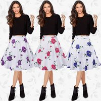 background station - 2017 Summer Europe Station New Pattern High Quality Restore Ancient Ways White Background Rose Printing Half body Dress A A line Skirt