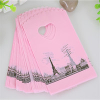 Wholesale Hot Sale Pink Eiffel Tower Packaging Bags Plastic Shopping Bags With Handle Small Gift Bags