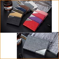 Wholesale Stainless Steel Colors PU Leather Metal Case Box Business ID Credit Card Holder Case Cover